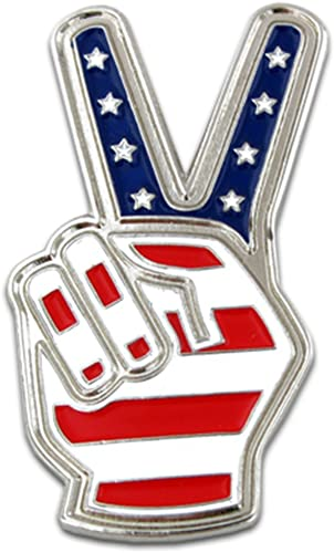 PinMart American Flag Peace Sign Patriotic Enamel Lapel Pin