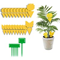 Yellow Dual-Sided Gnat Trap, Sticky Fly Trap, Disposable Insect Catcher Sticky Board for Mosquitoes, Houseplant, Garden…