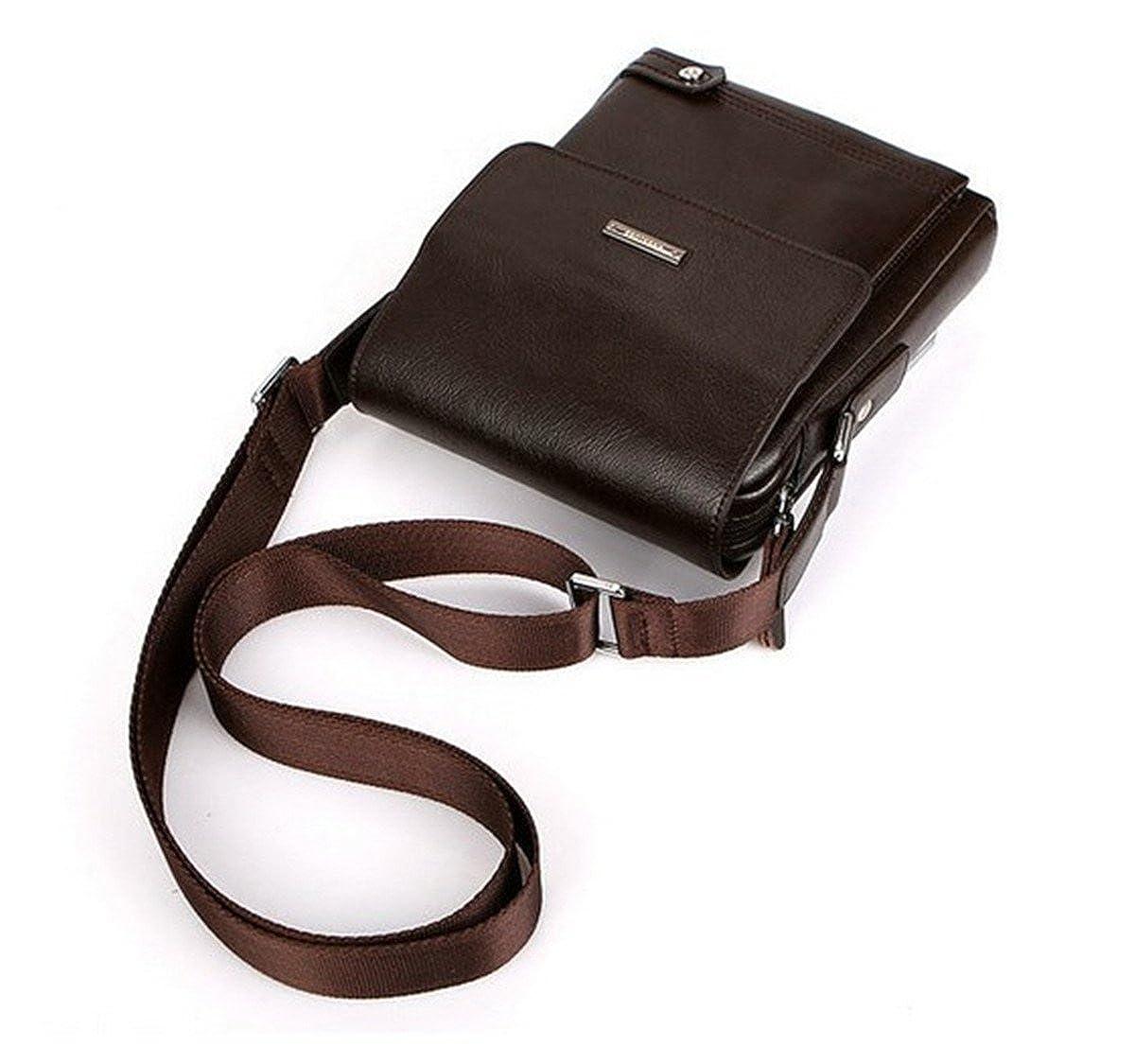 BININBOX Men Shoulder Business Messenger Briefcase Bag Cross Body Handbag Brown