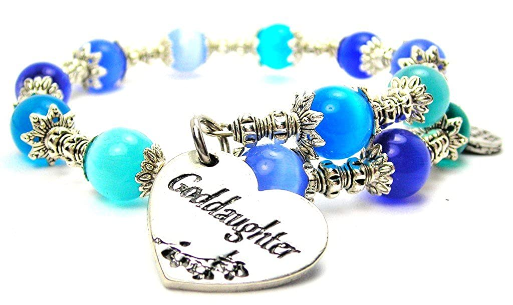 Goddaughter Heart Cats Eye Wrap Charm Bracelet in Sapphire Blue and Aqua Blue