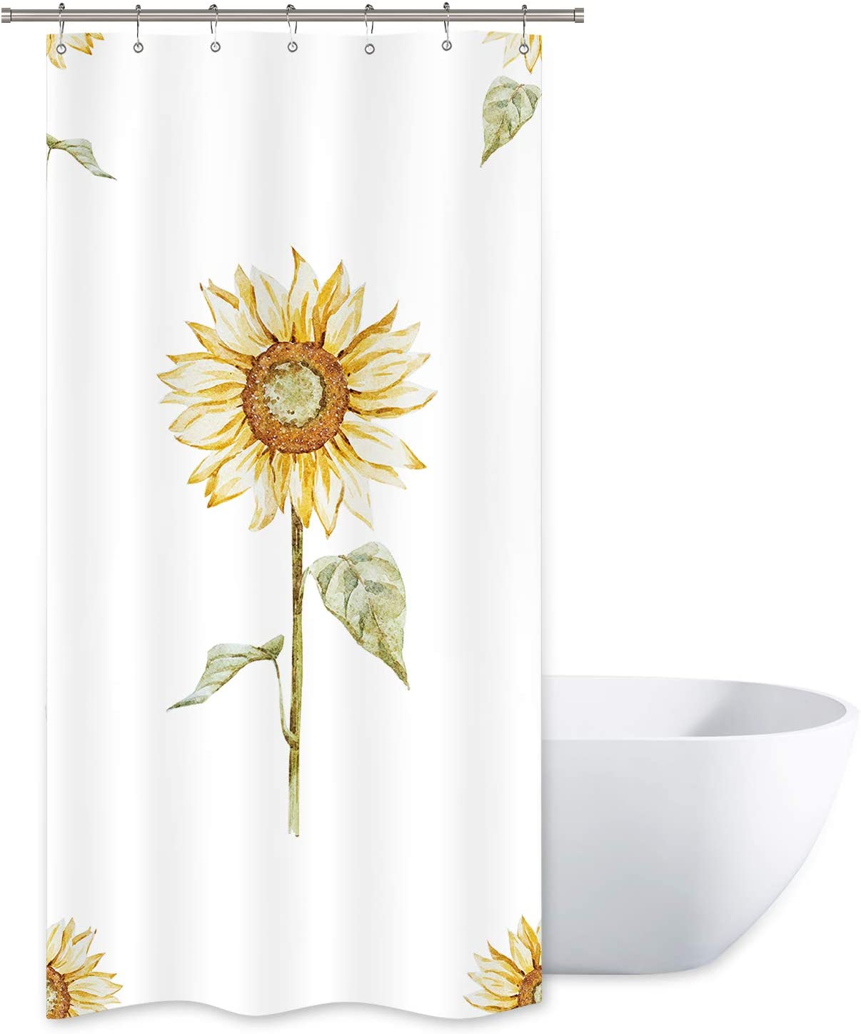 Riyidecor Yellow Sunflower Shower Curtain Green Leaves Floral Rustic Nature Spring Durable White Polyester Fabric Waterproof Bathroom Home Drape Decorative 36x72 Inches 12 Plastic Hooks