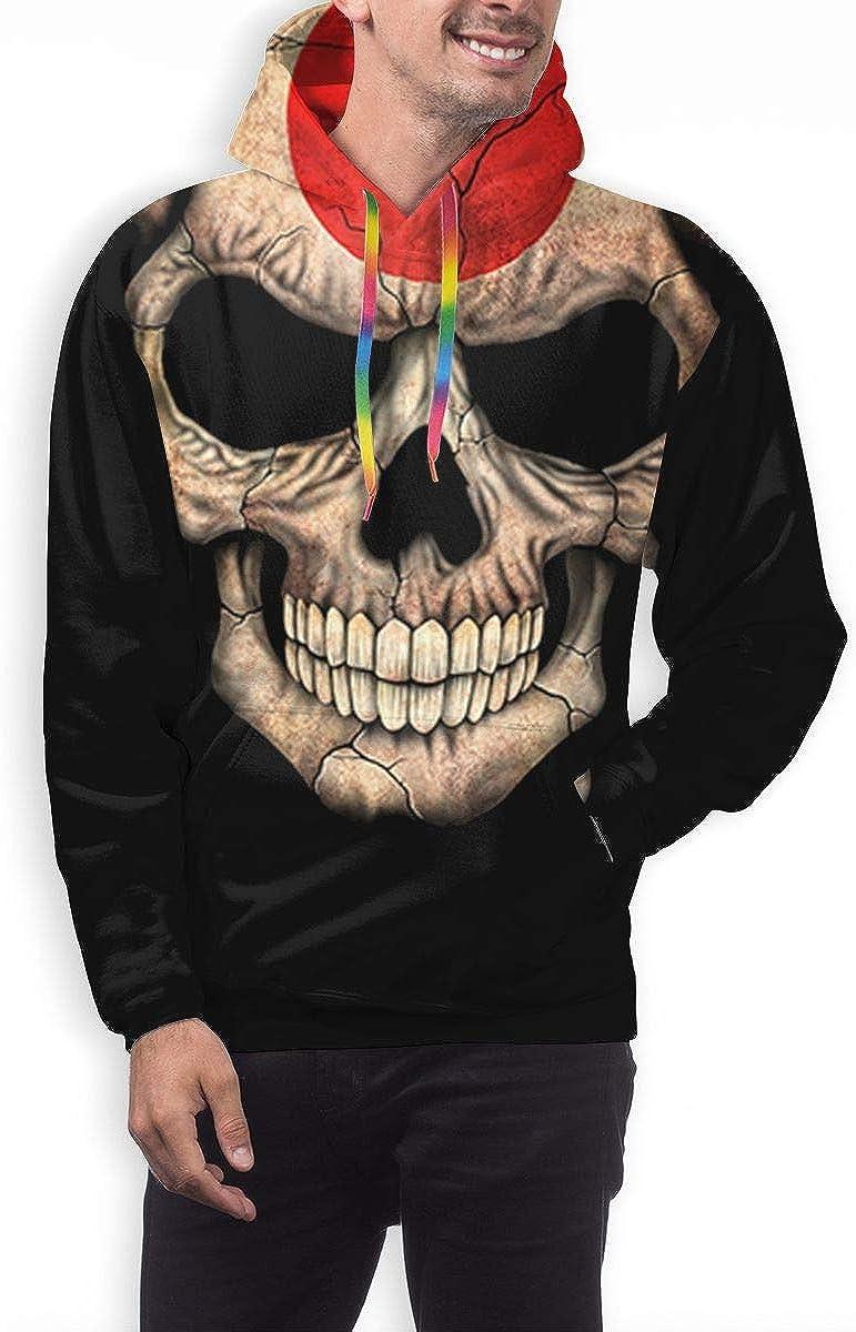 ZHONGHENJIUDIAN Japanese Flag Skull Mens Polyester Hoodie Pullover Hooded Sweatshirt