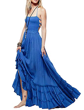 57ece4b6e0726 SEBOWEL Women s Sexy Blackless Halter Boho Ruffle Swing Flowy Maxi Party  Dress Blue-S