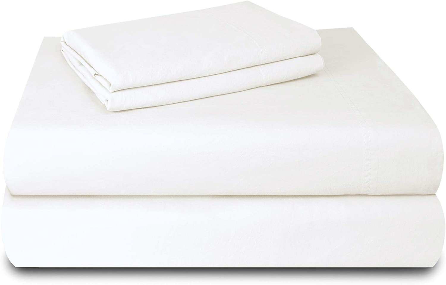 "Laundry by Design - Soft & Smooth, Pre-Shrunk 4 Piece Cotton Sheet Set, Fits Upto 16"" DEEP Pocket, Luxury Hotel Bedding, (White, King)"