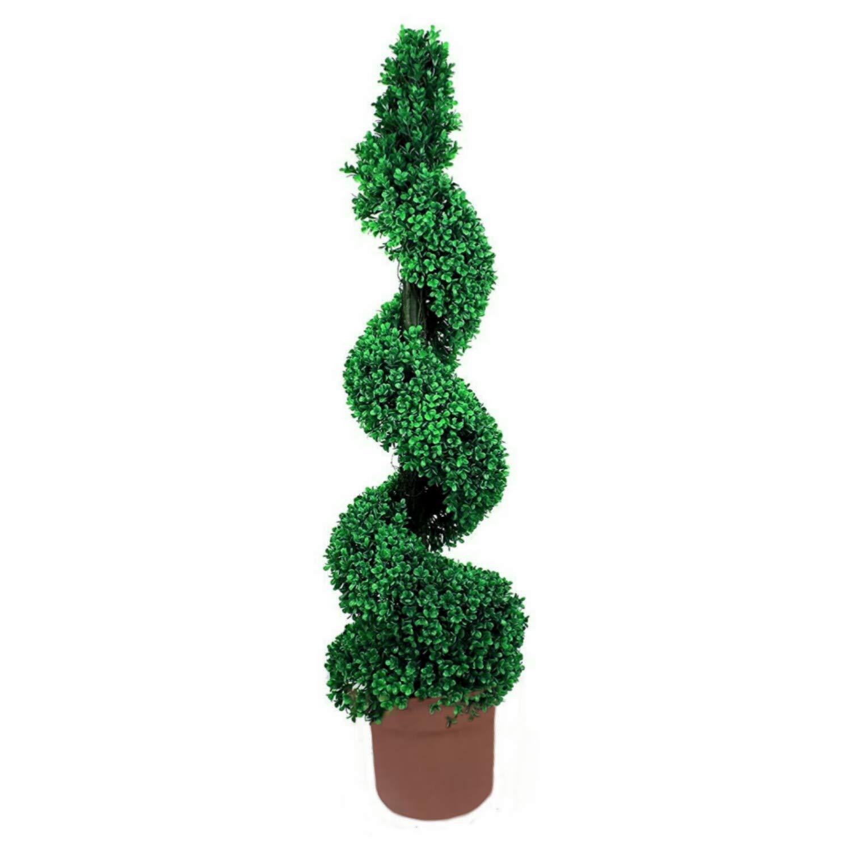 Abaseen, pianta Artificiale in Legno di bosso a Spirale, per Uso Esterno Stabile ai Raggi UV, Foglie Verdi Bicolore, Arte topiaria da Giardino Altamente realistica