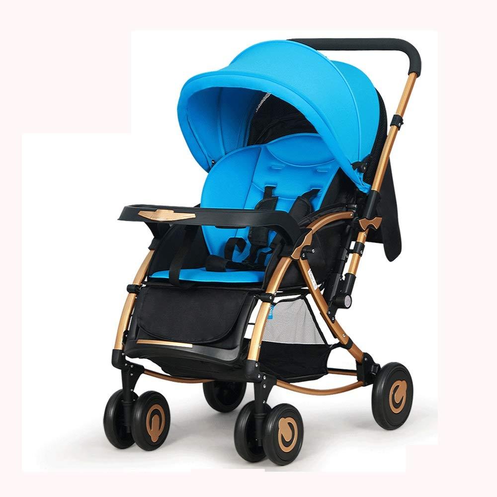 ベビーカー、揺れる馬の上に座って横になることができ、明るく広い空気中。多目的折りたたみ双方向衝撃吸収トロリー(青/紫) HS-01 (Color : Blue)  Blue B07Q5SJBGB