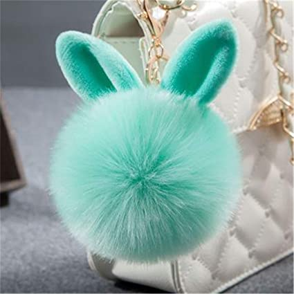 JEWH Fur Pom Pom Keychains Fake Rabbit -Fur Ball Key Chain Porte Clef Pom Pom