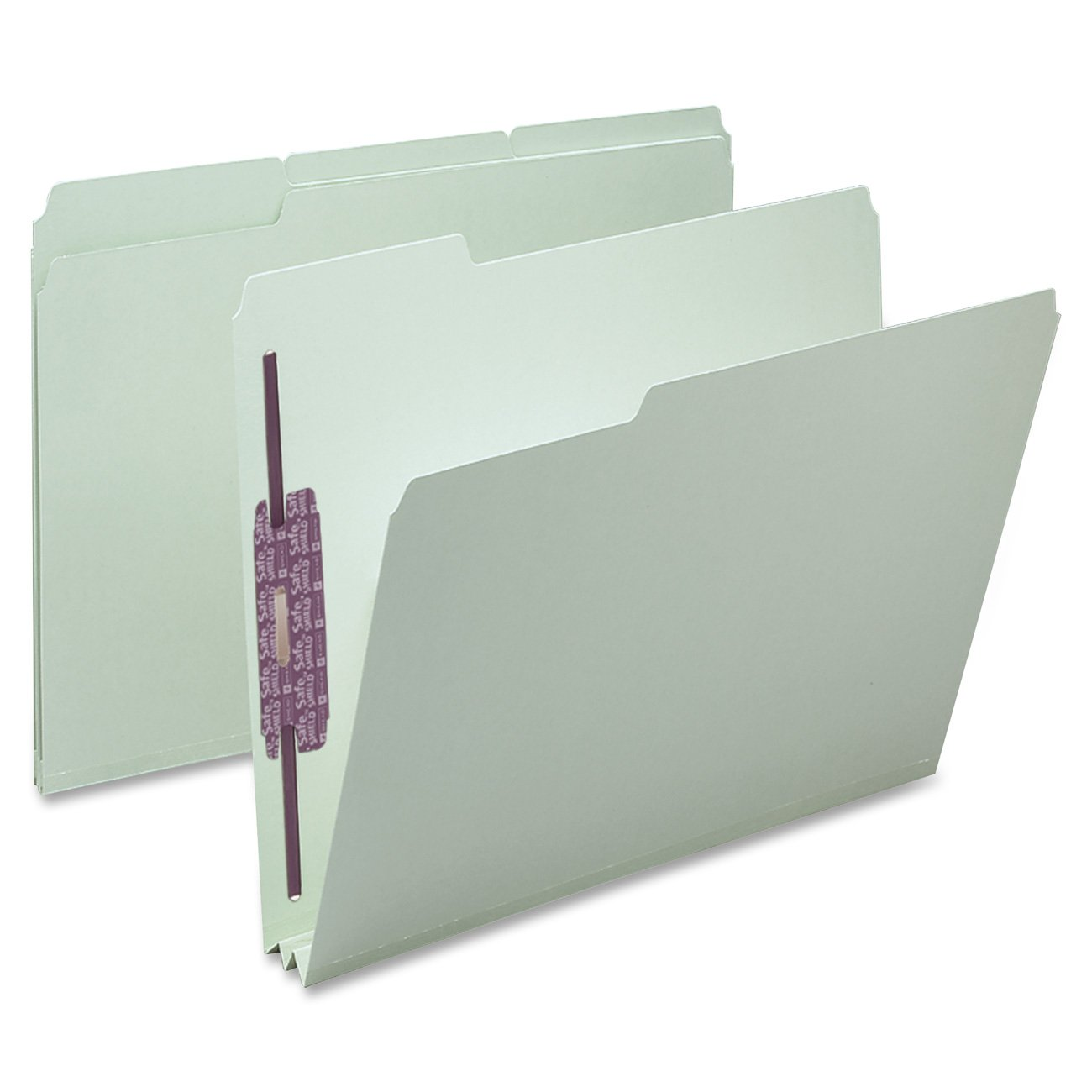 Smead Pressboard Fastener File Folder with SafeSHIELD Fasteners, 2 Fasteners, 1/3-Cut Tab, 2'' Expansion, Letter Size, Gray/Green, 25 per Box (14934)
