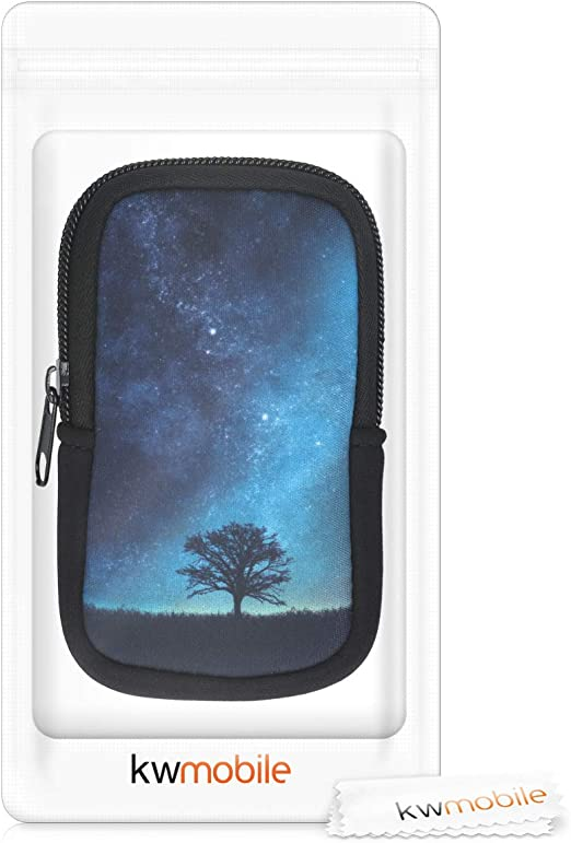 kwmobile Case Compatible with Garmin Edge 530//830 Pouch for Bike GPS Cosmic Nature Blue//Grey//Black