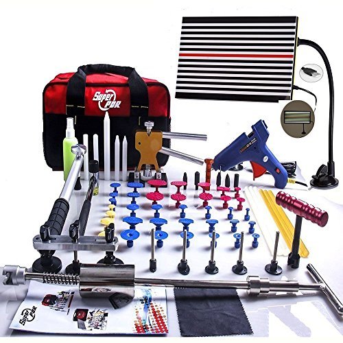 Super PDR 68pcs Auto Body Paintless Dent Removal Repair Tools Kits Dent Lifter Slide Hammer Pro Tabs Tap Down LED Reflector Board With Tool Bag (Dent Repair Tool Kit compare prices)