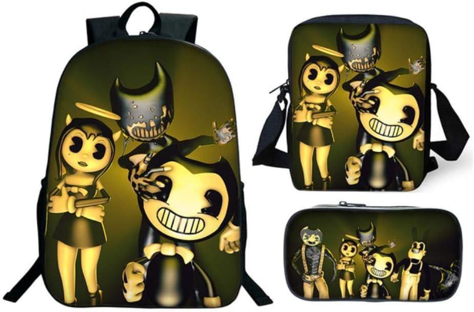 13 ,1 Bgdo.cccc Mochila Escolar dise/ño 3D Animal Ideal para Senderismo o la Vida Diaria Anime 3Pcs//Set Bendy Anime Size:30 40cm Backpack