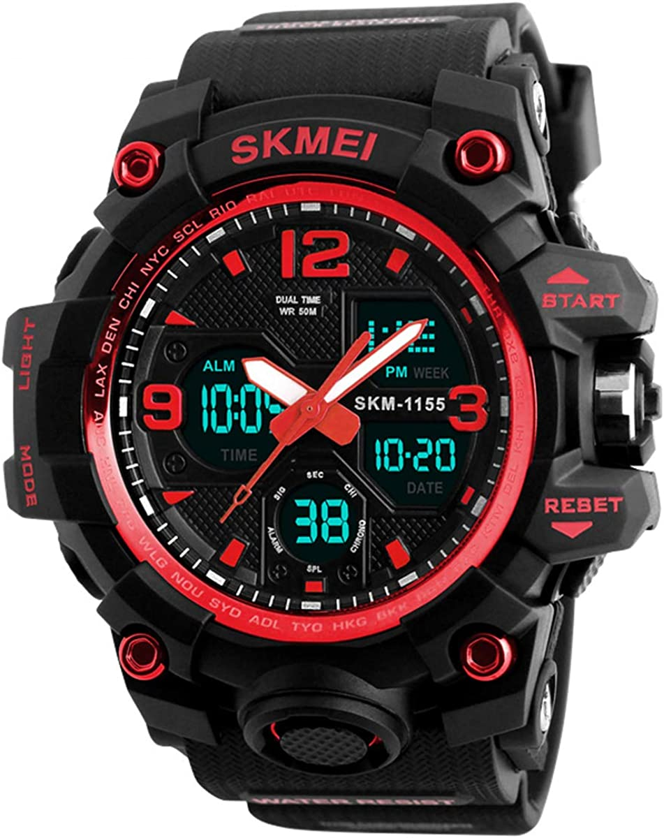 Mens Analog Digital LED 50M Waterproof Outdoor Sport Watch Military Multifunction Casual Dual Display 12H/24H Stopwatch Calendar Wrist Watch