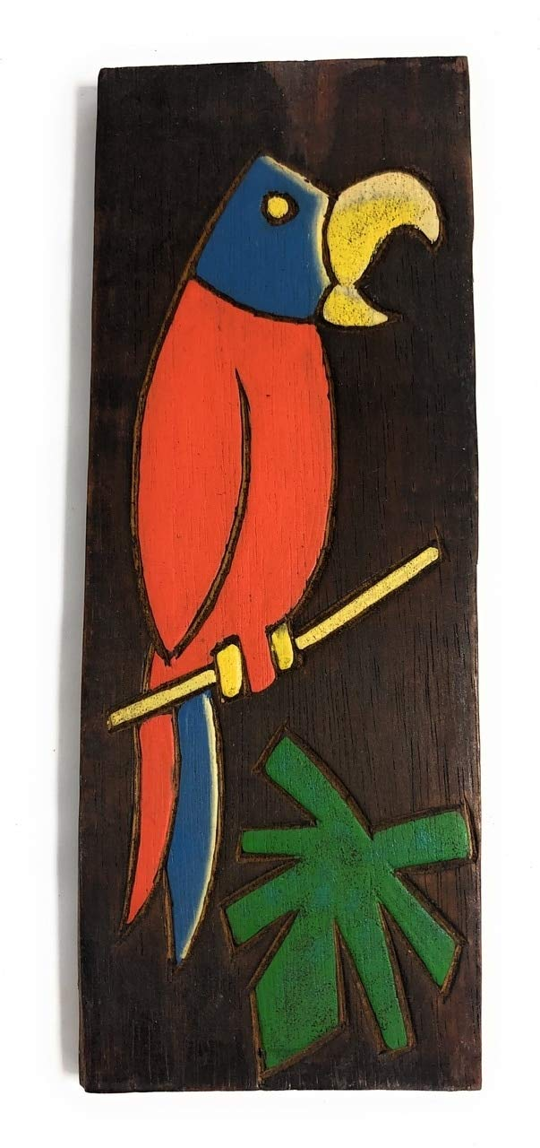 TikiMaster Parrot & Palm Leaf Relief 12'' X 5'' - Wall Art Wood Panel | #dpt516130