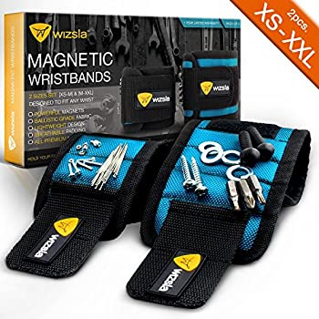 Wizsla Magnetic Wristbands for Holding Screws, Nails, Pins, Drill Bits - Very Unique Gift Idea for DIY Handyman, Men, Women - Best Tool Gift for Him, Her (Set of 2 exclusive Sizes - Blue)