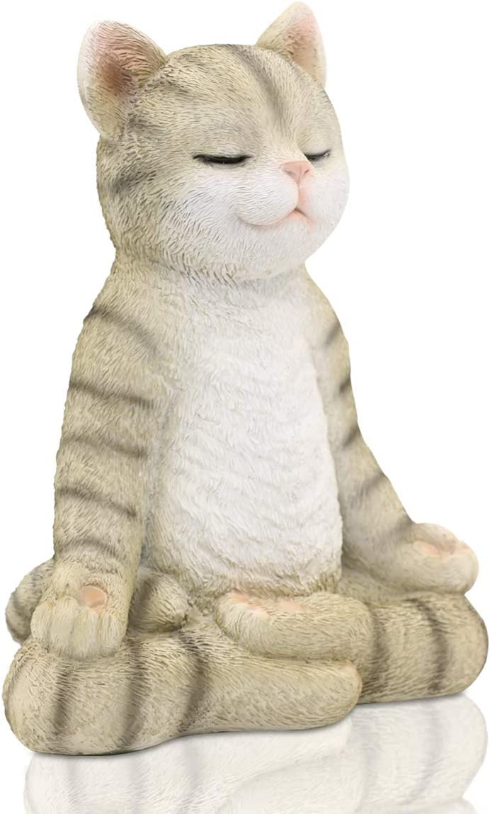 Meditating Zen Yoga Cat Figurine Garden Statue- Indoor/Outdoor Garden Cat Sculpture for Home, Garden, Patio, Deck, Porch Yard Art or Lawn Decoration, 8.7