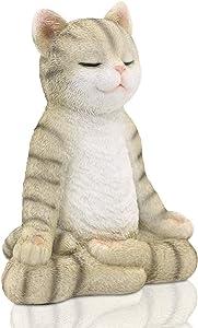 Meditating Zen Yoga Cat Figurine Garden Statue- Indoor/Outdoor Garden Cat Sculpture for Home, Garden, Patio, Deck, Porch Yard Art or Lawn Decoration, 8.7