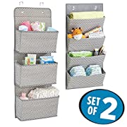 mDesign Chevron Baby Nursery Storage Organizers for Diapers, Blankets, Stuffed Animals, Books - Set of 2, Gray/Cream