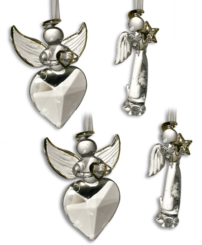 Crystal Angel Ornaments HOPE & LOVE with Gold Accents - Set of 4 - Christmas Ornament - Holiday Decorations Christmas Tree Ornaments Xmas Angel Wings - Gift