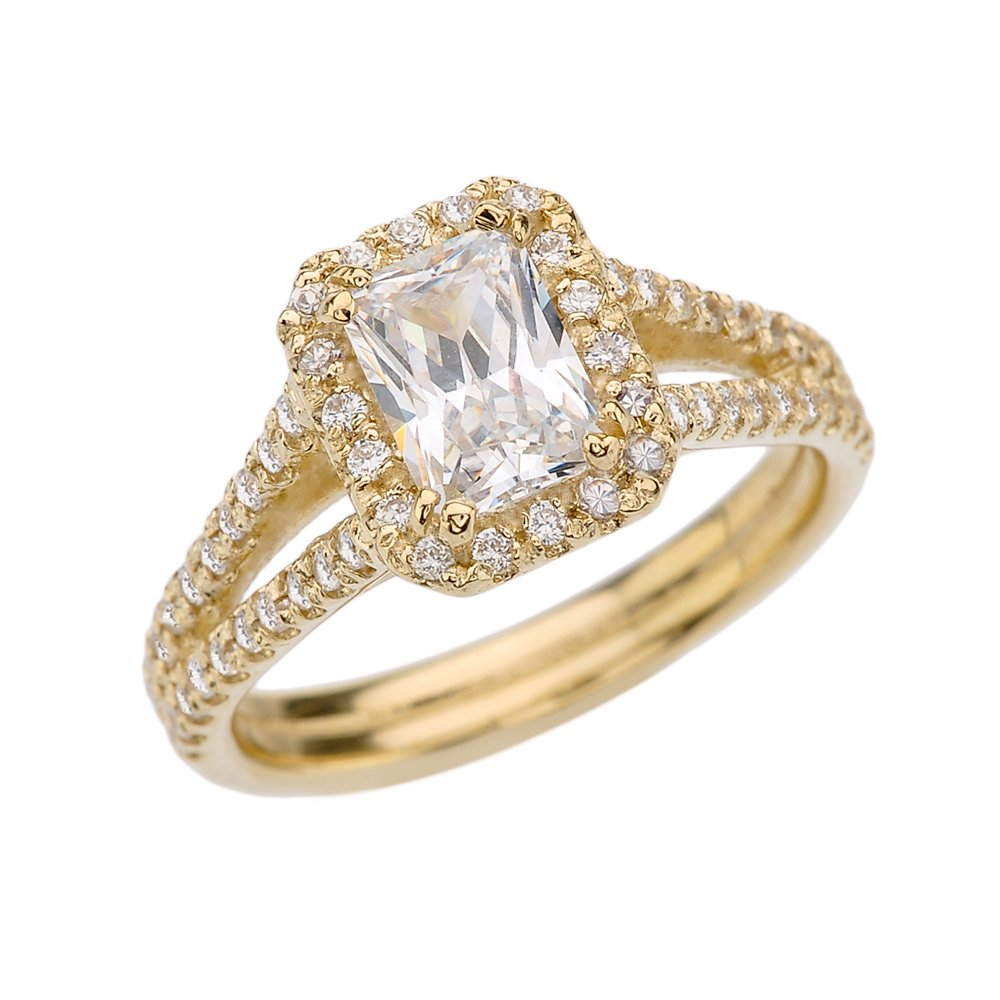10k Yellow Gold Fine Emerald Cut CZ Center Stone With Diamonds Halo Bridal Ring (Size 7.5)