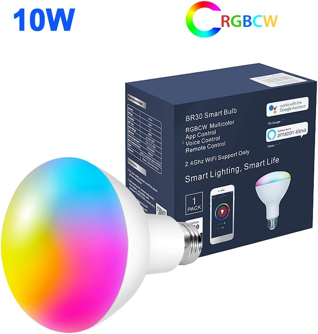 BR30 Smart Light Bulb,10W Smart WiFi Flood Light Bulb,E26 Base,100W Equivalent,Work