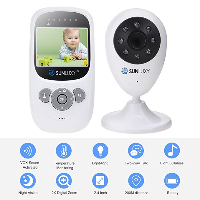 "150 opinioni per SUNLUXY® 2,4"" Baby Monitor Wireless Digitale Videocamera IR LED Citofono Visione"