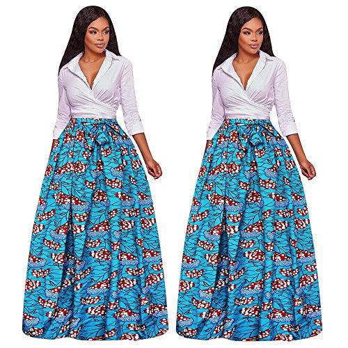 Hot Chiffon- Printed Skirt- Womens Pleated Elasticated Waist Mini/Long Skirt hot sale