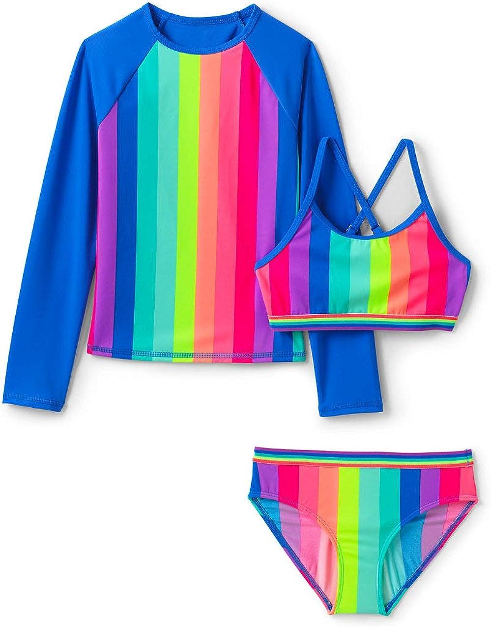 Lands End Girls 3 Piece Rash Guard Set Rainbow Stripe Big Slim 8