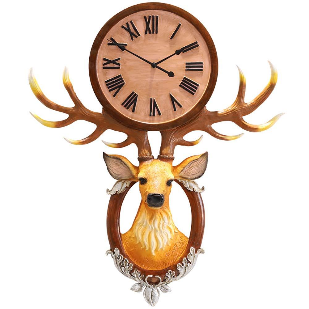 ファッションウォールクロック、創造的な北欧の鹿の頭の雰囲気の装飾ホームベッドルーム研究リビングルーム壁時計バッテリー駆動,Brass   B07QRRMX15