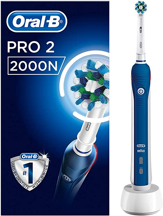Oral B Pro 2 2000N CrossAction Electric Rechargeable Toothbrush, 1 Handle, 2 Modes: Daily Clean and Sensitive, Gum Pressure Sensor, 1 Brush Head, 2