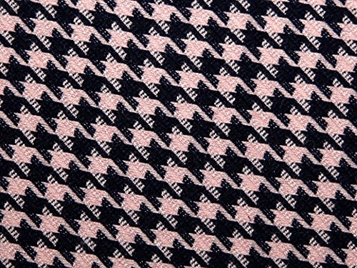 Plaid Check Stretch Suiting Dress Fabric Pink & Navy - per metre