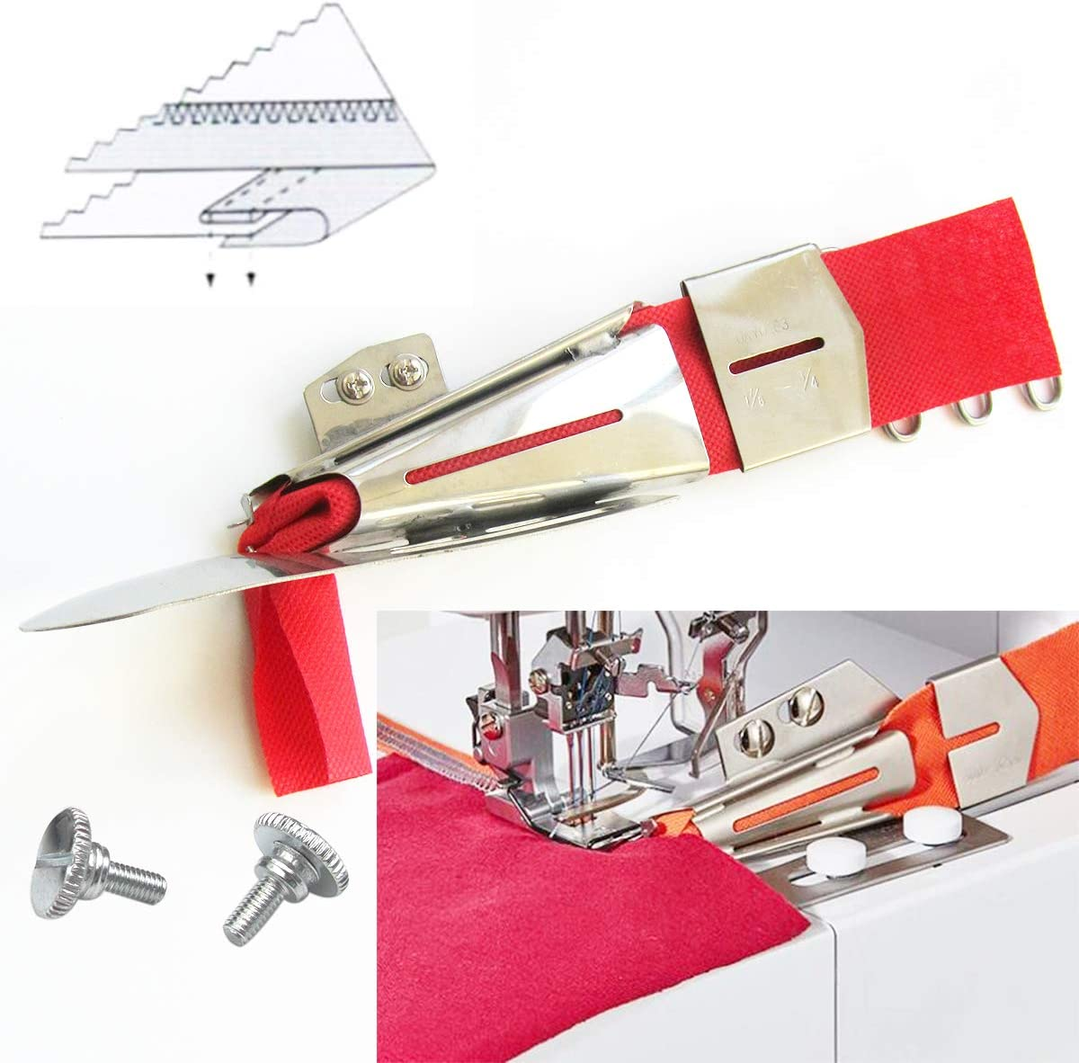 Tape Cut Size 3//4 Finish Size 1//4 A-Type CKPSMS brand KP-103 Clean Finish Top and Raw Finish Bottom COLLARETTE Binder Attachment for Industrial Flatbed Cover Stitch Sewing Machines