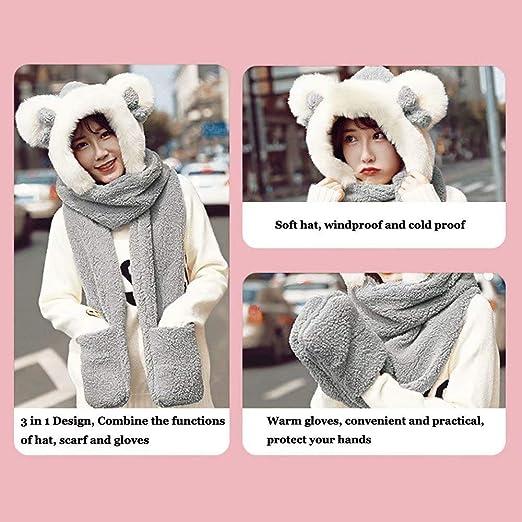 MiniGreen Hiver Bonnet Châle Mignon 3D Motif de Ours Oreilles Rondes Noeud  Chapeaux Casquette Cache-oreilles Ensemble Echarpe Calotte Chapeau pour  Enfants ... 0655ee2d872