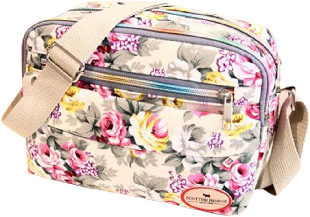 shengyuze Fashion Flower Print Women Canvas Square Crossbody Shoulder Bag Messenger Pouch for Women Black