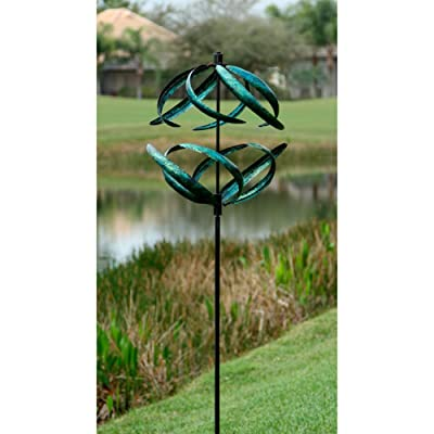 Marshall Home and Garden Sphere Wind Spinner, Blue : Garden & Outdoor