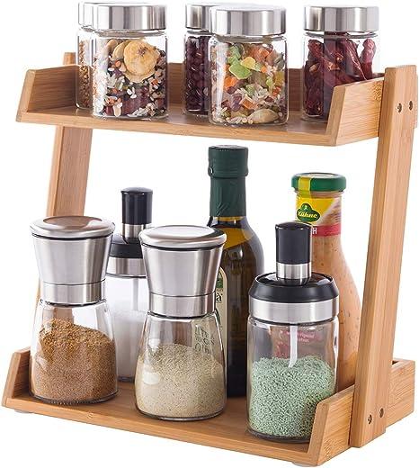 2-Tier Kitchen Spice Rack Storage Organizer Seasoning Bottle Stand Shelf Holder