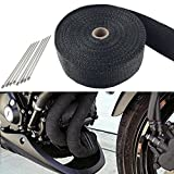 """Big Ant 2"""" x 50' Exhaust Heat Wrap Roll for Motorcycle Fiberglass Heat Shield Tape with 8 Stainless Ties(Black)"""