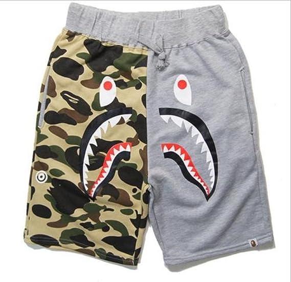 4840e10825 Hot A Bathing Ape Japan Men's Bape Shark Jaw Shorts Pants Camo Print Color  Pants | Amazon.com