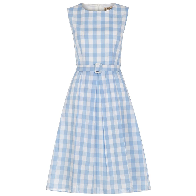 Lindy Bop 'Colette' Sky Gingham 60's Jackie O Dress