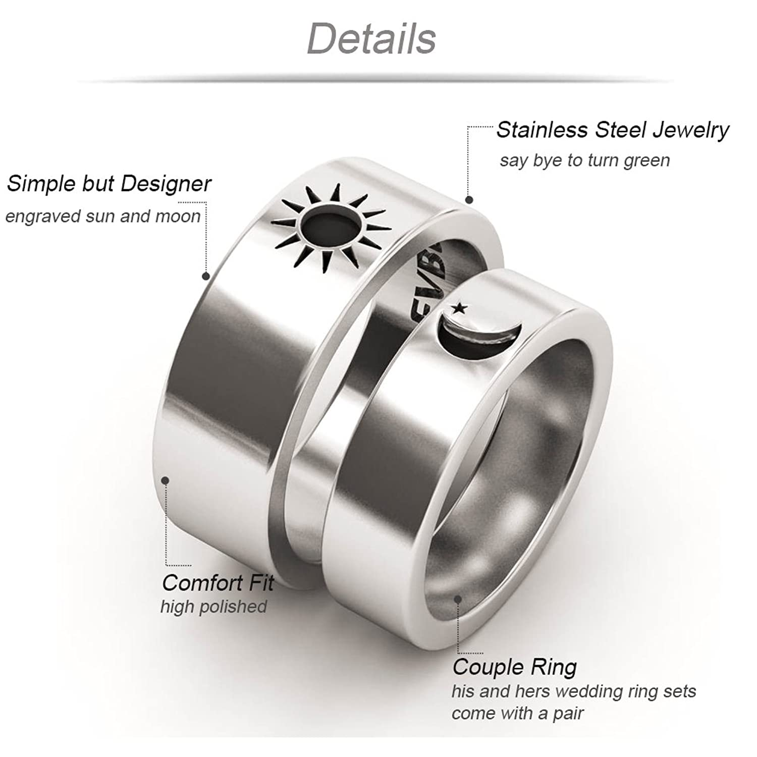 bands for cz stainless engagement az silver wedding steel unisexs products couple beydodo rings