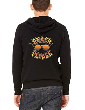 178d92e23c85 Interstate Apparel Men's Beach Please Sunglasses Black Fleece Zipper Hoodie  X-Small Black