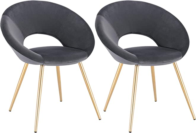WOLTU Dining Chairs Set of 2 pcs Kitchen Counter Chairs Lounge Leisure Living Room Corner Chairs Multicolour Linen Reception Chairs with Arms and Back Support