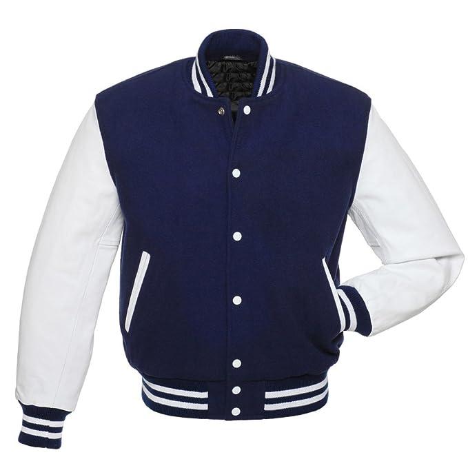 Amazon.com: Royal Azul Letterman – Chaqueta, color blanco ...