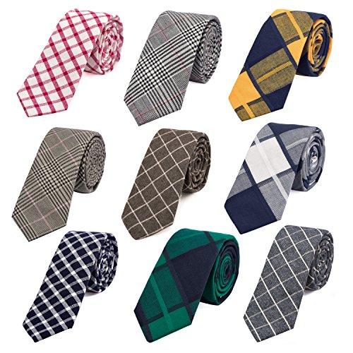 Tie checkered Narrow Blue Yellow 36 Men's cm Checkered 2 inch dark DonDon Cotton 6 Necktie IqACE