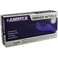 AMMEX - AINPF44100-BX - Medical Nitrile Gloves - Disposable, Powder Free, Exam Grade, 3 mil, Medium, Indigo (Box of 100)