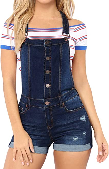 Womens Denim Dungarees Ladies Playsuit Jumpsuit Jeans Romper Overall Shorts