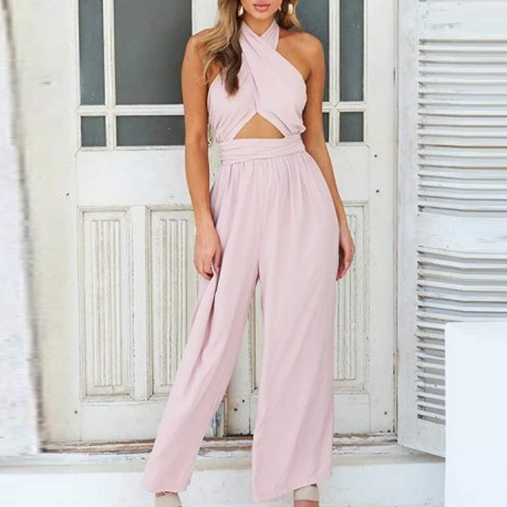 Pants.Mikey Store Fashion Women Holiday Wide Leg Pants Long Jumpsuit Backless Strappy Playsuit