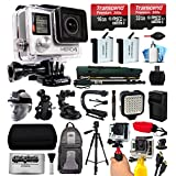 GoPro HERO4 Hero 4 Black Edition 4K Action Camera Camcorder with 2x Micro SD Cards, 2x Battery, Charger, Backpack, Helmet Strap, Handle, Car Mount, Selfie Stick, Tripod, Case, LED Video Light and more