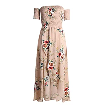 3e9092f910bc Diamondo Womens Summer Boho off Shoulder Floral Print Beach Maxi Long Dress  (Khaki