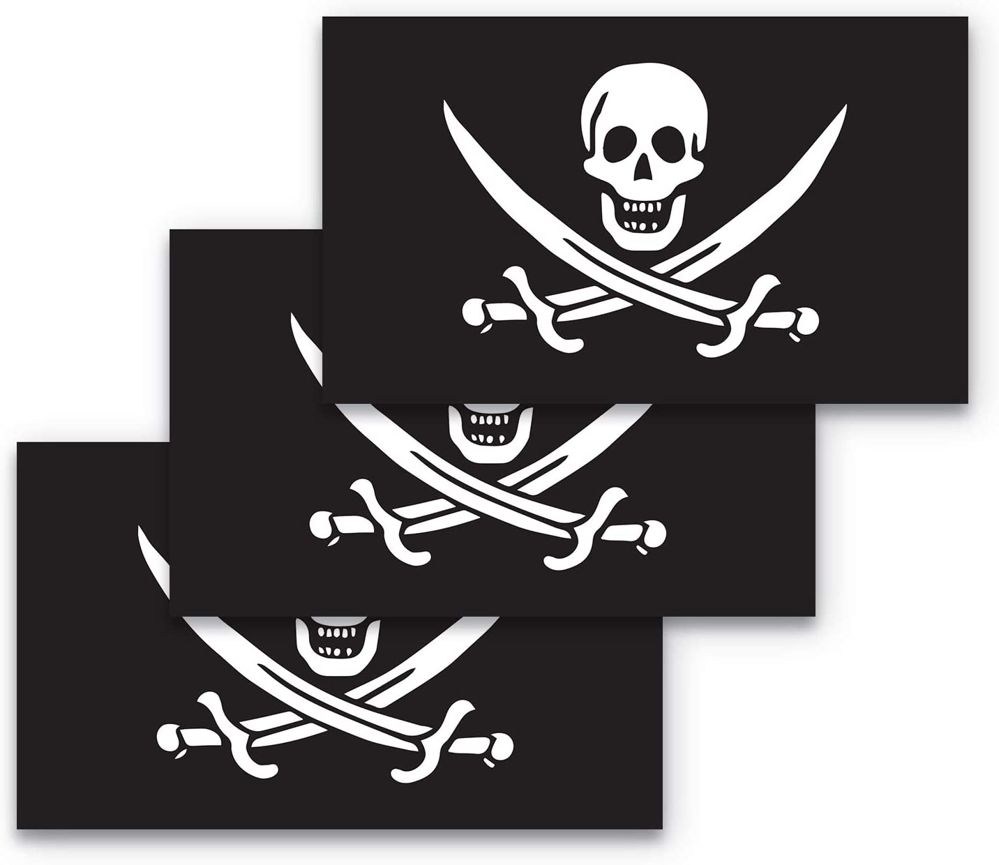 3x5 Pirate Flag Sticker Pirate Sticker 3-Pack Made with Durable, Waterproof Materials, Jolly Roger Flag Bumper Sticker Pirate Bumper Sticker Skull and Crossbones Sticker Jolly Roger Sticker