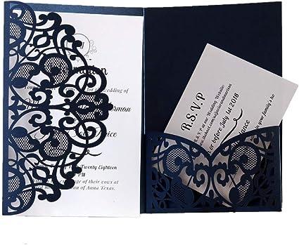 Amazon Com 50pcs Laser Cut Invitation Cards With Envelopes